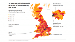 UK map with job losses